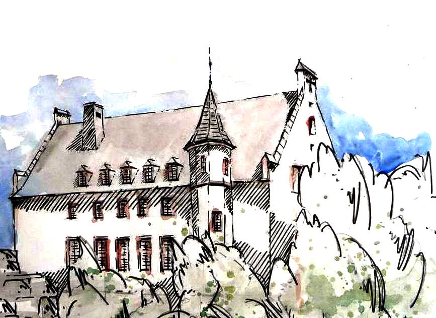 """Prof. Henner Hermanns: """"Das Deutschherrenhaus in Koblenz"""". Studienzeichnung Fachbereich Architektur, Universität Koblenz-Landau"""
