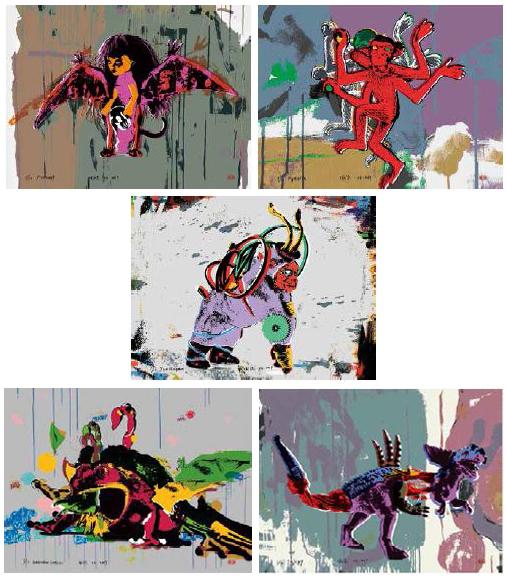 """Deng Guoyuan: Werkserie """"Die Götter des Pito"""" 5 Siebdrucke, je 56 x 76 cm, Edition."""